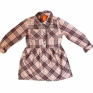 ✨3 for $30✨4T Girls Pink Plaid Long Sleeve Fall Button Down Dress